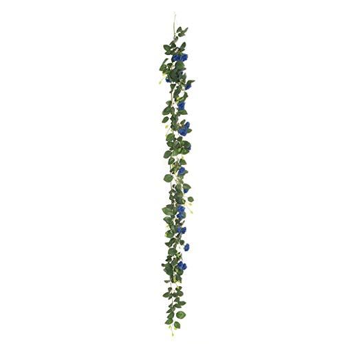 CJJC Royal Blue künstliche Rose Rattan, Kunststoff Seide gefälschte Blume Rebe, Home Wandbehang Girlande Party Hochzeit Gartendekoration, Set von 50 (Blue Blumen Gefälschte Royal)