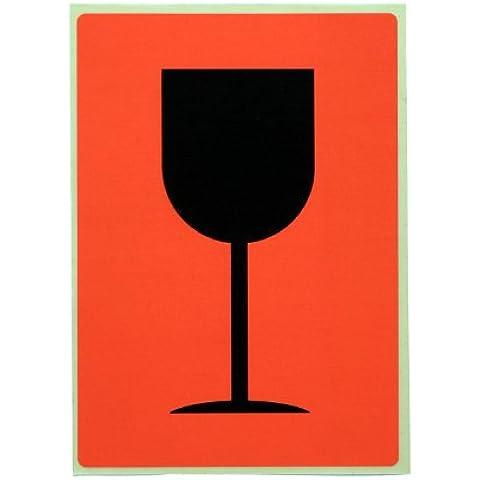 Nips 140836352 - Etichette di segnalazione, Vetro/Fragile, 74 x 105 mm, rosso segnale/nero, 20 pezzi - Vetro Fragile Vetro