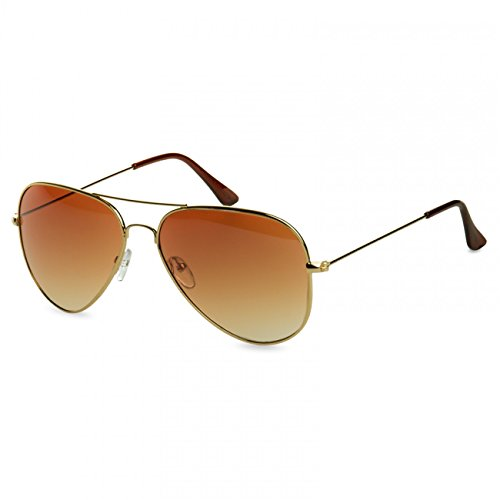CASPAR SG033 Damen Large Metal Aviator Sonnenbrille, Farbe:gold / braun getönt (Aviator Sonnenbrillen, 53mm)
