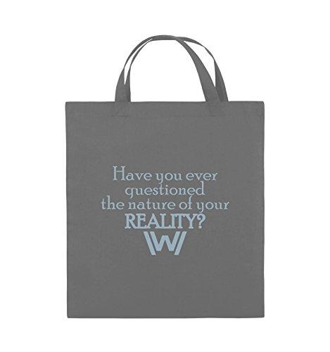 Comedy Bags - Have you ever questioned - WESTWORLD - Jutebeutel - kurze Henkel - 38x42cm - Farbe: Schwarz / Silber Dunkelgrau / Eisblau
