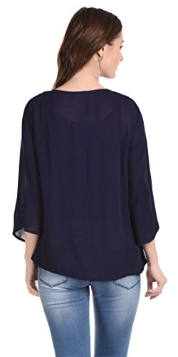 Aditii's Mantra Women Navy Blue Mirror Work top