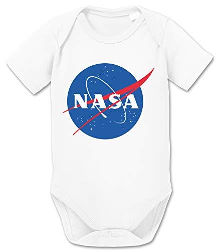 NASA Logo Rocket Baby Strampler Astronaut Bio Baumwolle Body Jungen & Mädchen 0-12 Monate, Größe:56/0-2 Monate, Farbe:Weiss