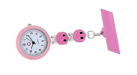 reizend fob rosa Lächeln Gesicht Quarz für Pin Uhr Krankenschwester Revers beobachten