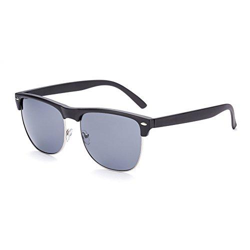 hmilydyk Wayfer Beach Sunglassess Vintage inspiriert Retro Rund gehörnten, halber Rahmen mit Rand Herren Brille UV400, Black Frame Black Lens