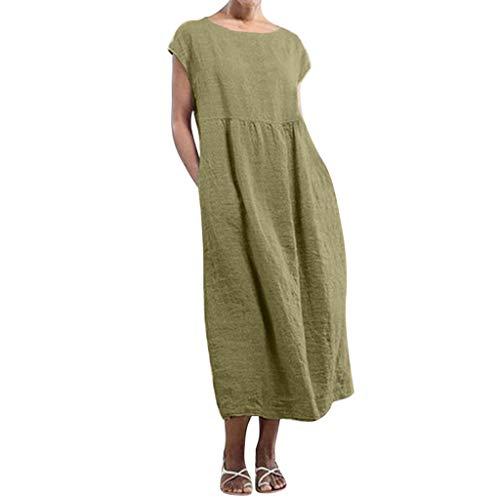 eit Kleider Leinenkleider 1/2 Ärmel Rundhals Einfarbig Casual Urlaub Sommerkleider Strandkleid Midi Dress Frauen kostüme übergröße (EU 38/CN M, X-Braun) ()