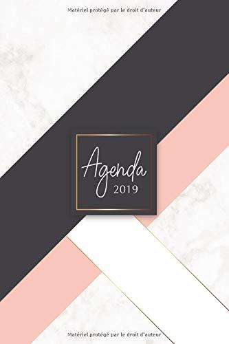 Agenda 2019: Agenda Janvier à Décembre 2019, Semainier simple & graphique, motif marbre, noir & rose par YesOuiPages