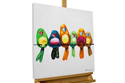 Vogel Leinwand Kunst (KunstLoft® Acryl Gemälde 'Bunte Bande' 60x60cm | original handgemalte Leinwand Bilder XXL | Modern Vögel AST Bunt Beige | Wandbild Acrylbild Moderne Kunst einteilig mit Rahmen)