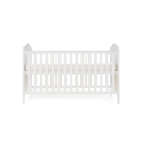 Obaby Whitby Cot Bed and Dual Core Breathable Mattress - White Obaby The Whitby features a subtle curved top with slat effect end panels Adjustable 3 position mattress height, bed ends split to transforms into toddler bed Protective teething rails along both side rails, suitable from birth to approximately 4 years 5