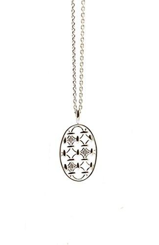 Babette Wasserman épingle Lustre ovale en argent sterling avec collier de 46cm argent