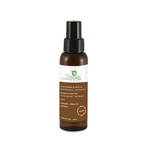 Damin Bio Nature - Aceite Barba Argan Oil Natural con Sandalo y Aguacate Ecologico - Hombre Piel Sensible con Barba Corta o Larga - Hidratante para Pelo Dañado Seco Encrespado 100ml Made in Italy