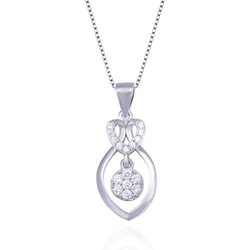 AmDxD 925 Sterling Silber Damen Halskette Diamant Rund Anhänger Silberkette Damenkette mit Zirkonia - Silber