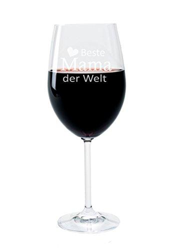 (FORYOU24 Leonardo Weinglas mit Gravur Motiv Mama der Welt Wein-Glas graviert Muttertag Geschenkidee)