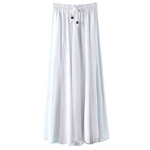 kolila Damen Eleganter Maxirock Lässig Elastische Taille Kordelzug Lose Leinenrock Einfarbig Vintage Faltenrock Röcke