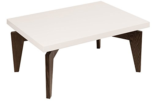 mauro ferretti Table de café Arak carré, 60 x 38 cm, MDF, laquarosso Blanc/Wengé