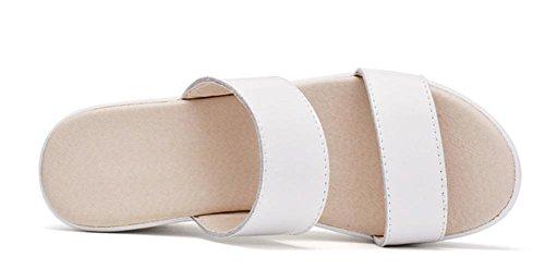 Été sandales et pantoufles pente avec occasionnels pantoufles mot de chaussures de plate-forme à fond épais femmes White