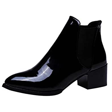 3748622e6f4a DAYSEVENTH Fashion Ladies Elasticated Patent Leather Lotus Boots Slip On  Pointed Low Block Heel Boots(