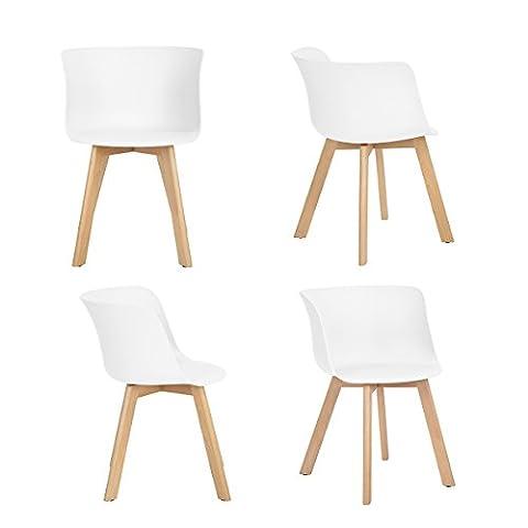 Ajie Chaises Design Scandinave, Lot de 4 Chaise de salle à manger avec accoudoirs, blanc