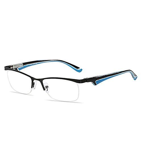 VEVESMUNDO® Lesebrillen Herren Damen Metall Klassische Federn-Scharnier HalbBrille Lesehilfe Augenoptik Arbeitsplatzbrille 1.0 1.5 2.0 2.5 3.0 3.5 4.0 (+2.0, Schwarz und Blau)