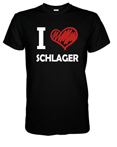 I Love Schlager - T-Shirt Herren Geschenke für Männer 4XL Schwarz