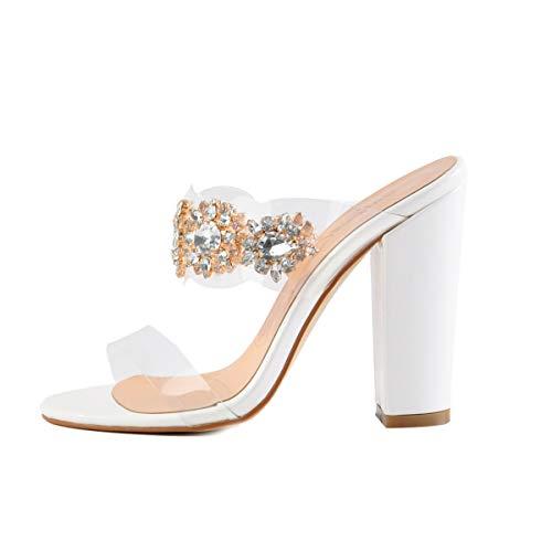 High-heel-sandalen Slip (Onlymaker Clear Open Toe Pantoletten Slingback Stiletto Strass verschönert High Heels Slip Sandalen Sandalen in Weiß Weiß Slipper Sandalen für EU46)