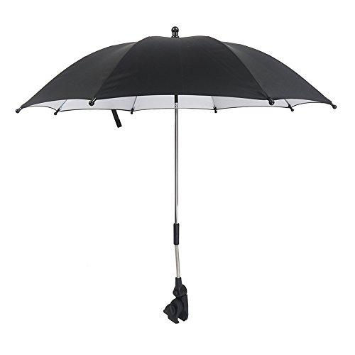 IntiPal Universal Kinderwagenschirm Sonnenschirm Regenschirm für Kinderwagen & Buggy (UV Schutz 50+, Durchmesser ca. 75 cm)-Schwarz