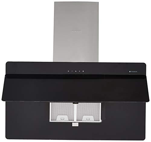 Faber 90 Cm 1095 M3/Hr Chimney (Hood Cocktail 3D T2S2 Bk Tc Ltw 90, 2 Cassette Filters, Touch Control, Black)