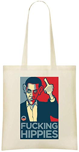 Hippie-grafik (Obama F ***** g Hippies-Grafik - Barack Obama F*****g Hippies Artwork Custom Printed Shopping Grocery Tote Bag 100% Soft Cotton Eco-Friendly & Stylish Handbag For Everyday Use Custom Shoulder Bags)