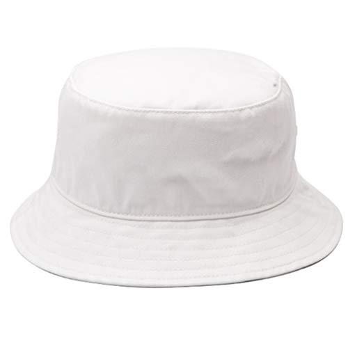 Hüte Hut Herbst und Winter Fischer Hut Männer wilde Sonnenblende einfarbig Mode Hip-Hop-Becken Hut Mode Mantel mit einstellbaren Geschenk Winterhut Größe (Color : Weiß, Size : ()