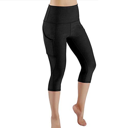 KIMODO® Damen Fitness Sport Laufen Yoga Athletic Hose Workout Out Pocket Leggings Einfarbig Shorts Freizeithose