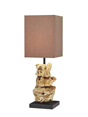 Holz Lampe Oragon Midi Wurzelholz Handarbeit mit Baumwoll Schirm braun massiv ca. 15 x 15 x 44 cm nachhaltig Tischleute Tischlampe (Oragon Midi) -
