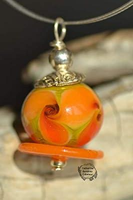 """Pendentif lampwork""""Capucine"""", argent 925,argent 925, bijoux de créateur,bijoux handmade,bijoux artisanaux"""