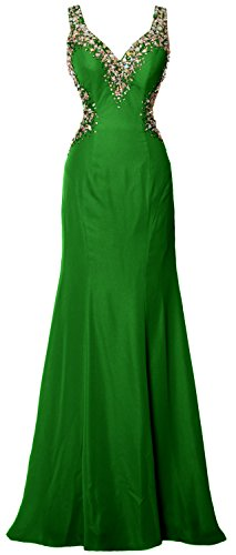 MACloth Women V Neck Crystal Long Prom Dress Sexy Open Back Evening Formal Gown Green