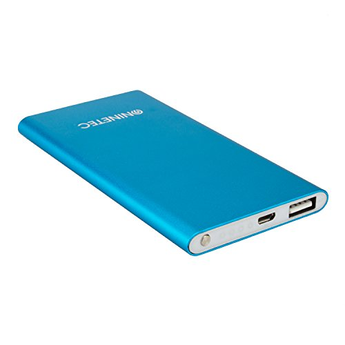 NINETEC NT-605 4.500mAh Ultra dünne PowerBank Externer Zusatz-Akku-Pack Ladegerät Blau -