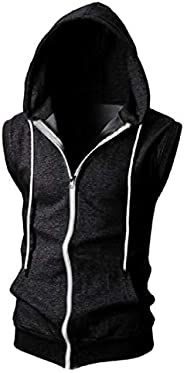 GAGA Men Casual Fit Sleeveless Workout Zip Up Pullover Hoodie Sweatshirt with Pockets