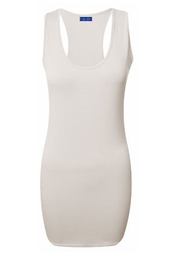 Saphir Damen Racerback Muskel Bodycon Ärmellos Damen Alle Farben Top 8-14 Weiß