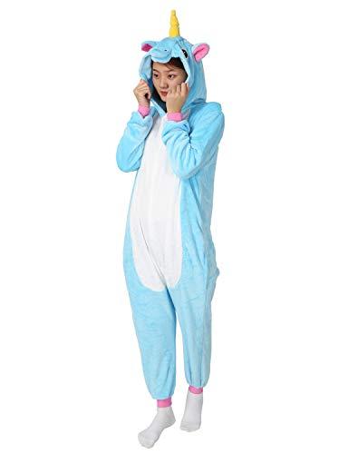 Einhorn Pyjamas Kostüm Jumpsuit -Karneval Cosplay Tier Schlafanzug Onesies Erwachsene Unisex Kigurumi (Medium, Blau) - 2