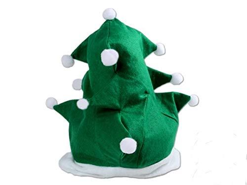Cappello albero di natale (wm-113) cappellino verde con bordino bianco e pompon peluche in bianco taglia unica per adulti per la festa di natale unisex accessorio travestimento