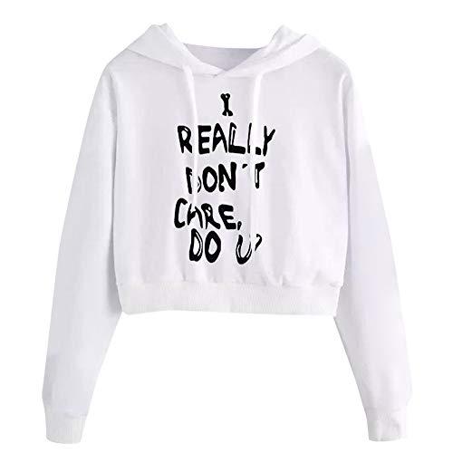 iHENGH Hoodie Sweatshirt Damen,Women Herbst Winter Letters Long Sleeve Sweatshirt Pullover Tops Blouse (Weiß,EU-40/CN-XL)