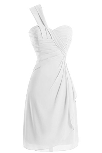 Sunvary a-line One-Shoulder Ruched garza vestiti Homecoming cocktail White