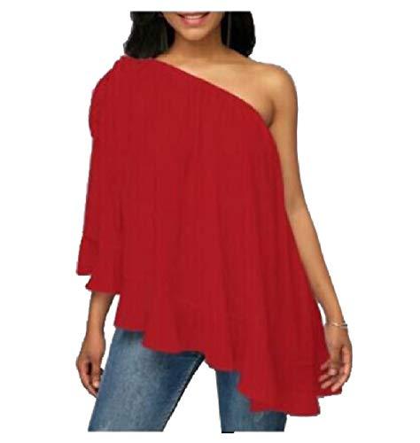 CuteRose Womens Chiffon Sexy One Shoulder Sleeveless Flounced Blouse Tops Red L -