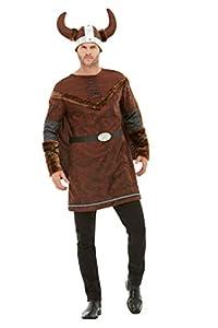 "Smiffys 50734M - Disfraz de bárbaro vikingo, para hombre, color marrón, talla M (38""-40"")"