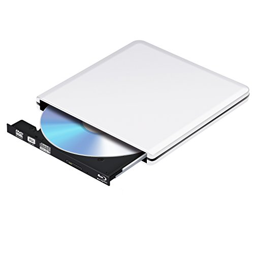 Lecteur DVD Blu Ray USB 3.0 Externe Graveur Bluray 3D, Portable CD DVD Player pour Mac, Windows 7 8 10, PC