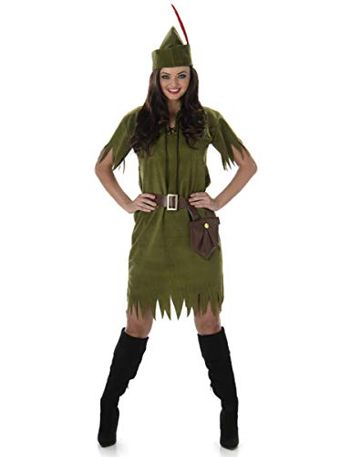 (Robin Hood Neverland Girl Ladies Fancy Dress Medieval Book Adults Womens Costume)