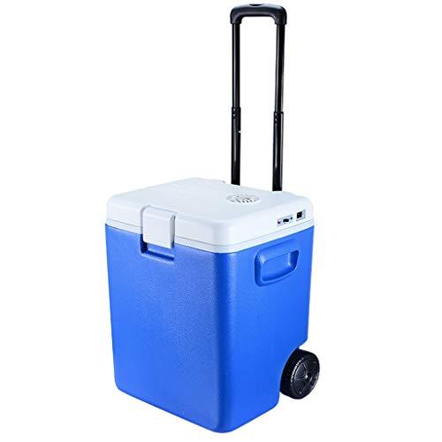 Ioouooi Thermo-elektrische Kühlbox Mit Rollen Und Spurstangen,Intelligenter Abnehmbarer Kühlschrank Für Autos 30 Liter/12V DC/A++