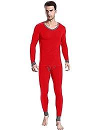 ENIMASE Modal col en V pour homme Assortiment de couleurs sous-vêtement thermique Long & à manches longues, 6 couleurs, prix/Set, idée cadeau