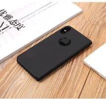 Meimeiwu Clear View Flip Custodia Cover con Funzione Kickstand [Sleep/Wake Funzione] Ultra-Sottile Specchio Traslucido Smart Cover per iPhone X - Porpora Nero