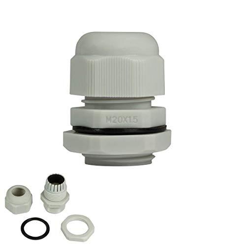 Faconet® 10x Kabelverschraubung M20 grau, Netzwerkkabel LAN sichern Schutz Zugentlastung 10er Set, IP68, Cable Gland (M20 Grey)