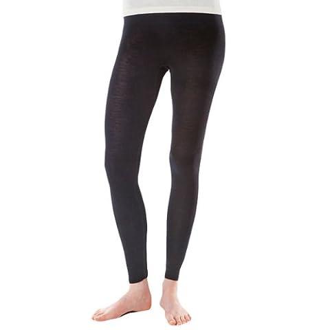 Women's Merino Wool & Mulberry Silk Leggings / Base Layer (Medium 12-14, Black ORGANIC wool)