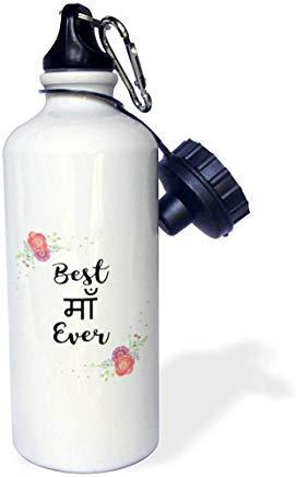 GFGKKGJFD612 Love Series - Floral Best Mother Ever in Hindi Buchstaben mit rosa Blumen - Maam Maan Sport-Wasserflasche, Aluminium, Weiß