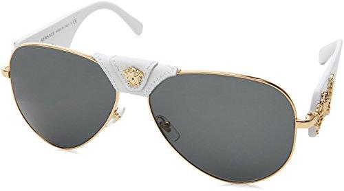 Versace Herren 0VE2150Q 134187 62 Sonnenbrille, Gold/Gray